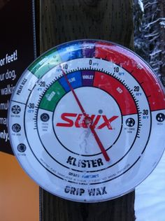 Temperature + what type of Nordic ski wax to use for the snow conditions. Photo taken today in Girdwood, Alaska. -Sarah Gonzales