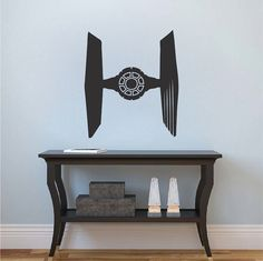 Vader Tie Fighter Decal  _ Star Wars Wall Decor _ Tie Fighter Wall Graphics _ Star Wars Fighter Bedroom Decals _ Trendywalldesigns
