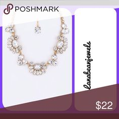 "Crystal statement necklace Gold statement necklace with beautiful crystal detailed. Comes with earrings 1.35"" drop Jewelry Necklaces"