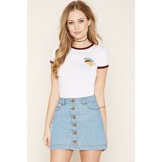 Forever 21 Women's  Taco Graphic Ringer Tee ($13) ❤ liked on Polyvore featuring tops, t-shirts, embroidered t shirts, forever 21 tops, forever 21, short sleeve graphic tees and short sleeve tops