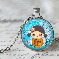 Kokoshi JapaneseNecklace Pendant Antique Silver Plated 1 inch Round 25mm Japenese Doll