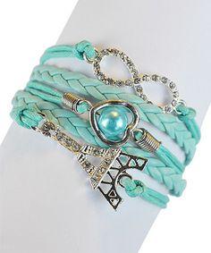 Love this Mint Eiffel Tower Braided Leather Bracelet on #zulily! #zulilyfinds