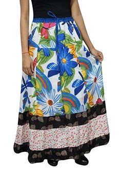 df441f4ed3 Bohemian Fashion Skirts · Mogul Interior Women's Maxi Skirt Bohemian Floral  Printed Cotton Beach Gypsy Hippie Long Skirt L White