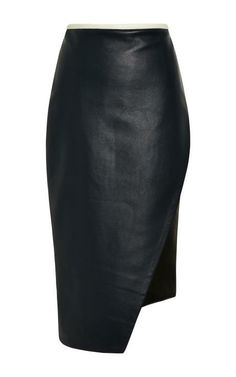 Asymmetrical Leather Pencil Skirt by Jonathan Simkhai for Preorder on Moda Operandi