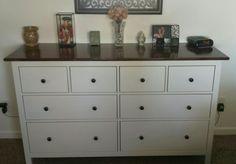 Ikea hack: Hemnes 8 drawer dresser white stain.