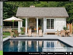 Nothing says summer like kids splashing around in a pool–except perhaps an adult party centered around a pool on a balmy summer evening. In either case, a pool house makes everything easier.Whether the pool house is small and simple or includes a Diy Jardim, Small Modern House Plans, Pool House Designs, Backyard Designs, Outdoor Wood Furniture, Pool Furniture, Teak Furniture, House Furniture, Furniture Ideas