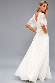 Romance is sure to be in the air when you wear the Daphne White Lace Maxi Dress! Chic, eyelash lace creates sheer, short sleeves and darted bodice. 70s Wedding Dress, Wedding Dresses Under 100, Stunning Wedding Dresses, Lulus Wedding Dress, Boho Wedding, White Lace Maxi Dress, Cute White Dress, Maxi Wrap Dress, White Dresses For Women