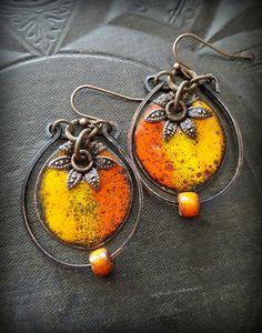 Enameled Beads, Hoops, Ceramic, Festive, Flower, Bohemian, Copper, Rustic, Organic, Hoop, Beaded Earrings