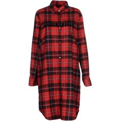 Department 5 Short Dress ($140) ❤ liked on Polyvore featuring dresses, tops, plaid, red, shirts, red plaid dress, long flannel shirt dress, plaid flannel dress, red long sleeve dress and long sleeve dresses