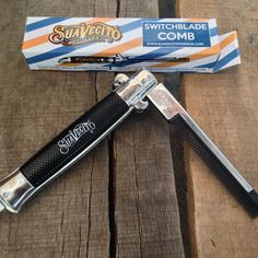The long anticipated Suavecito Pomade Switchblade Comb Has arrived, packed in a custom barber box. Mens Pomade, Hair Pomade, Bald With Beard, Mustache Styles, Rockabilly Cars, Beard No Mustache, Beard Care, Pompadour, Steel Metal