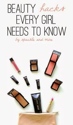 Makeup Hacks Every Girl NEEDS To Know! These tips and tricks are all about finding new and better uses for products you already have! Seriously, most of these hacks are life-changing-ly good. Must pin!!