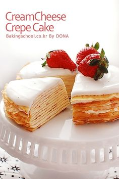 crepe cheese cake French Dessert Recipes, Sweet Desserts, Just Desserts, Delicious Desserts, Yummy Food, Cheesecake Cake, Cheesecake Recipes, Crepes, Pancake Cake