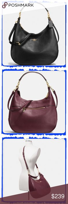 """NWT COACH Black Pebble Leather Harley Hobo NWT COACH Harley Hobo in BLACK Pebble Leather *Pebble Leather, Zip-Top Closure, Fabric Lining *Inside Zip, Multifunction Pockets *Longer Strap w/22.5"""" Drop For Shoulder or Crossbody Wear *Handle w/ 11.75"""" Drop Outside Zip Pocket *Approx. 14 1/4"""" (L) x 10"""" (H) x 4 1/2"""" (W) **Used stock photos as bag is wrapped up in Coach packaging**   ***This bag is BLACK, used other photos to get different angles of the actual bag. Coach Bags Hobos"""