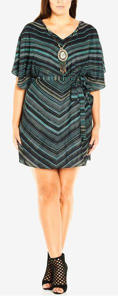 Cute plus size outfit. Chevron dress and nude heels. Plus size ...