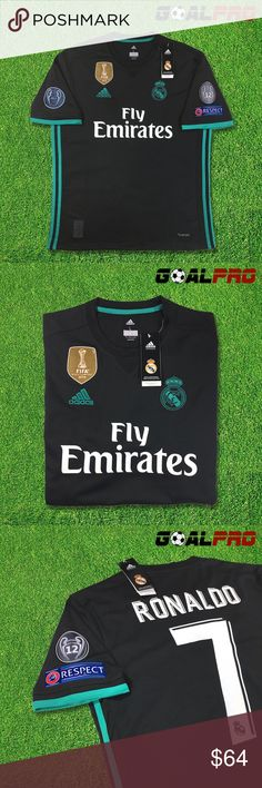 Real Madrid Away Jersey 2017-18 Champions League Official Real Madrid Away Jersey for season 2017-18 Brand new with all original packaging Adidas Climacool Version UEFA Champions League edition 2017-2018 2016 FIFA world cup champions golden chest patch Regular Fit   Size S to size XXXL available All players available Custom Name and Number available +$10 Adidas Shirts Tees - Short Sleeve