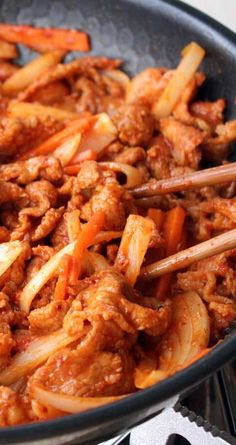 Korean Pork - Bulgogi Recipe for Spicy Korean Pork - Bulgogi - Bulgogi is one of the most well-known Korean dishes. The main ingredient is chili paste (Gochujang), so it's quite spicy, perfect with steamed rice.Recipe for Spicy Korean Pork - Bulgogi - Bul Chicken Bulgogi Recipe, Korean Pork Bulgogi Recipe, Spicy Korean Pork, Gochujang Recipe, Gochujang Chicken, Korean Bulgogi, Spicy Recipes, Pork Recipes, Asian Recipes