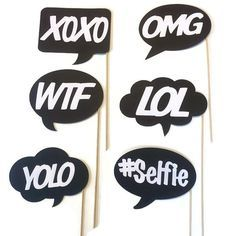 Photo Booth Props - Fun and Funky Word Bubbles - 6 Piece Photo Booth Props