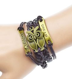Braided Owl Leather Bracelet (Brown) #Accessories #Bangle #Beachy
