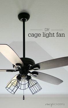 DIY Industrial Ceiling Fan Lighting - Transform an ordinary ceiling fan light fixture to a modern in Industrial Ceiling Fan, Industrial Lighting, Modern Industrial, Kitchen Lighting, Industrial Light Fixtures, Industrial Farmhouse, Modern Farmhouse, Fan Light Fixtures, Light Fixtures Bedroom Ceiling