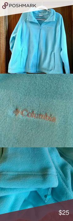 Columbia fleece top Baby blue Columbia fleece top.  Zipper front.  String on bottom to tighten. Columbia Tops Blouses