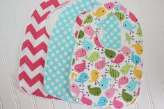 Baby Girl Bibs  Set of 3 by TheSugarButtonsShop on Etsy, $24.00