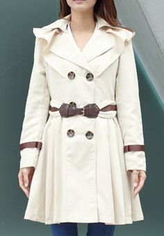 Apricot Drawstring Waist Shoulder Ruffles Trench Coat