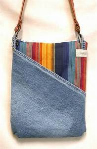 Denim Shoulder Bag Made from Recycled Jeans Ethnic Stripe