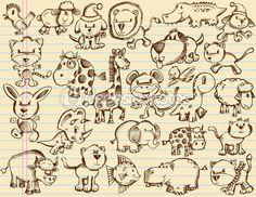 Ноутбук каракули эскиз животных Векторный набор — Векторная картинка #8335117