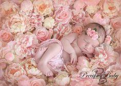 Baby newborn girl sleeping on flowers, roses. Precious Baby Photography, Fort Wayne, Indiana. www.preciousbabyphotography.com