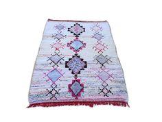 "95""X59"" Moroccan rug handwoven from scraps of fabric / boucherouite / boucherouette / kilim rug / beni ourain / moroccan wedding blanket"