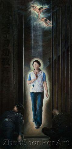 正念走出Freed by Faith - Oil on Canvas (30 x 62 inches) 2006, Xiaoping Chen  Cold steel bars and uniformed guards here fail, for all their ferocity, to keep bound the righteous. Adapted from a true story, the young woman is here seen breaking free from one of China's nefarious labor camps, where she was held as a prisoner of conscience. The hand seal, common to Falun Gong, suggests that the power of inner rectitude melded with conviction was her means to freedom. According to one first-hand…