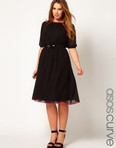 ASOS CURVE Midi Dress With Contrast Piping