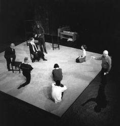 Peter Brook directing. Brook's The Empty Space is an exploration of four aspects of theatre, 'Deadly, Holy, Rough and Immediate'. 'I can take any empty space and call it a bare stage'.