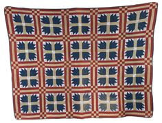 """RED, BLUE AND MUSTARD COTTON PIECED QUILT IN THE """"BEAR PAW"""" PATTERN."""