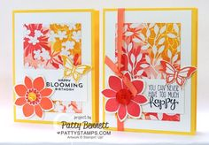 Stamping on Irresistibly Yours Sale a Bration paper with the Flower Patch stamp set. Cards by Patty Bennett