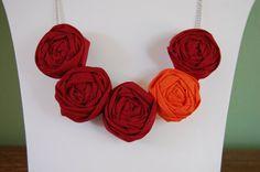 Virginia Tech Rosette Necklace #maroon #orange