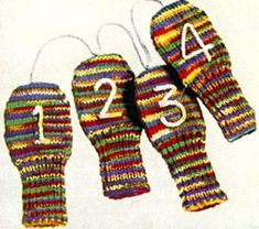Golf Clubs Vintage Golf Club Mitts knit pattern from New Quick Tricks, originally published by Clark's ONT J Coats, Book in Vintage Patterns, Knitting Patterns, Crochet Patterns, Knitting Ideas, Knitting Projects, Crochet Projects, Stitch Patterns, Vintage Knitting, Baby Knitting