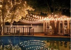 String lights over the pool make beautiful reflections. Shop the lengths you need at http://www.partylights.com/Strings-Bulbs.