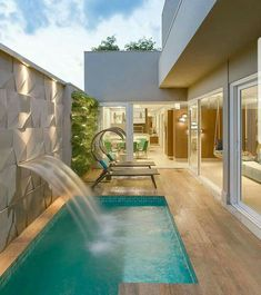 Having a swimming pool in your house can be one of the solutions. You won't have to share your pool with people who you don't know. However, designing a private swimming pool, either indoor or outdoor, can be a difficult task. Small Backyard Pools, Backyard Pool Designs, Small Pools, Infinity Pool Backyard, Backyard Beach, Swimming Pools Backyard, Swimming Pool Designs, Pool Landscaping, Luxury Swimming Pools
