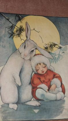 Adorable Vintage Print for Framing  13 x 10  Snow Baby with White Rabbit in the Moonlight Mid-Century   Muted art Print Romantic Nursery Art. $12.00, via Etsy.