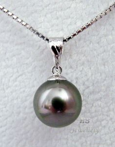 HS Black #Tahitian South Sea Cultured #Pearl 9.99mm 18KWG #Pendant Top Grading #Jewelry #Mothers #Wedding #BlackPearl