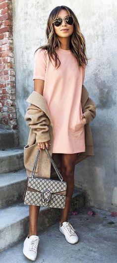 cute outfit idea: coat + dress + bag