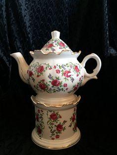 Vintage Tea Pot on Warming Stand by Nanaslittlecottage on Etsy