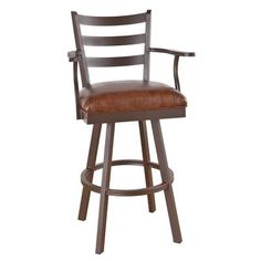 "Callee Claremont 26"" Swivel Bar Stool Frame Finish: Sun Bronze, Upholstery: Mayflower Cocoa"