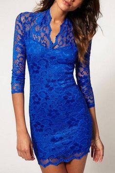Electric Blue Lace Dress
