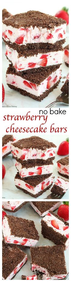 Summer in a bite, these no bake strawberry cheesecake bars with an easy chocolate graham crust are sure to impress your friends and family all summer long!