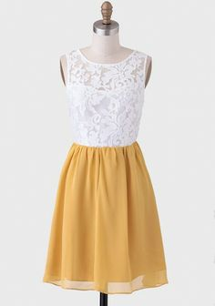 {Spring Tea Lace Dress in White  Mustard Yellow - Shop Ruche}