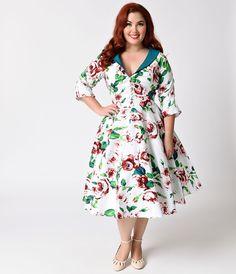29fa6b077c948 Plus Size Retro Dresses Unique Vintage Plus Size 1950s White Floral Sleeved  Eva Marie Swing Dress