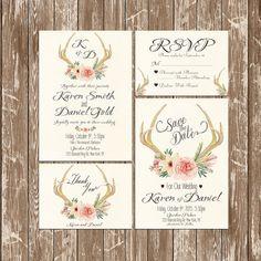 Rustic Peony And Deer Antler Wedding Invitations Wedding Autumn