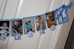 Photo Banner - 1st Birthday Boy (Blue and Brown Polka Dots). $35.00, via Etsy.